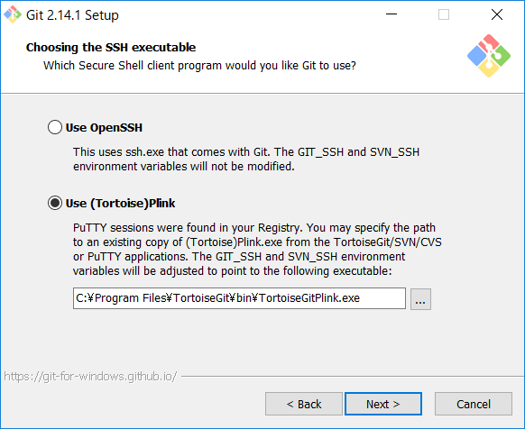 Choosing the SSH executable